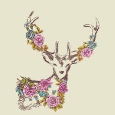 印花矢量图 卡通 动物 鹿 植物 免费素材