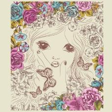 印花矢量图 卡通 人物 女孩 植物 免费素材