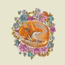 印花矢量图 卡通 动物 狐狸 植物 免费素材
