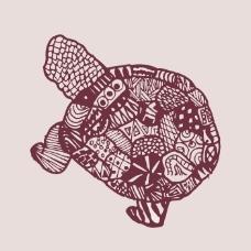 印花矢量图 填充面料 动物 乌龟 女装 免费素材