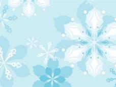 蓝色雪花底纹背景