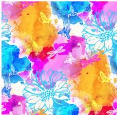 矢量水彩花纹背景