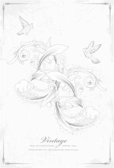 花卉矢量插画的鸟