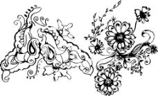 花朵背景剪影
