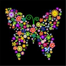 蝴蝶花拼图案矢量素材