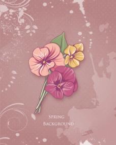 随着春天的花朵和框架花卉背景矢量插画