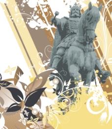 骑士雕像与花卉背景