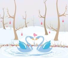爱情鸟插画矢量