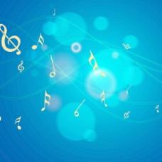 跳舞是闪亮的蓝色背景上的音符