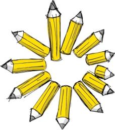 各种长度的矢量插画铅笔素描