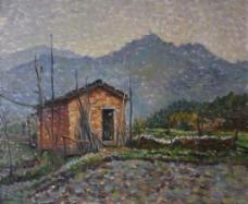 山区小屋子风景画