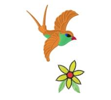 绣花 动物图案 鸟 植物图案 花朵 免费素材图片