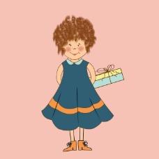 印花矢量图 卡通 卡通动物 女孩 女童 免费素材