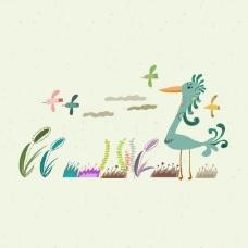 印花矢量图 卡通 卡通动物 鸟 植物 免费素材