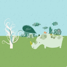 印花矢量图 卡通 卡通动物 牛 植物 免费素材