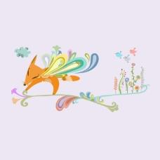 印花矢量图 卡通 卡通动物 狐狸 鸟 免费素材