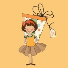 印花矢量图 卡通 卡通动物 女孩 几何 免费素材