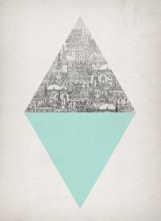 位图 几何 菱形 填充图案 楼房 免费素材