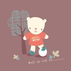 印花矢量图 卡通 卡通动物 熊 植物 免费素材