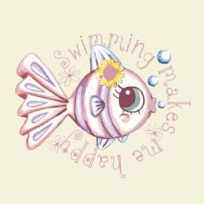 印花矢量 卡通 卡通动物 鱼 文字 免费素材