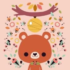 印花矢量图 卡通 卡通动物 熊 鱼 免费素材