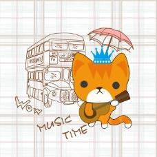 印花矢量图 卡通 卡通动物 猫 卡通静物 免费素材
