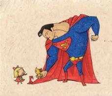 位图 可爱卡通 卡通人物 超人 女孩 免费素材