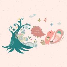 印花矢量图 卡通 卡通动物 松鼠 植物 免费素材