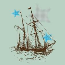 印花矢量图 T恤图案 交通工具 帆船 航海 免费素材
