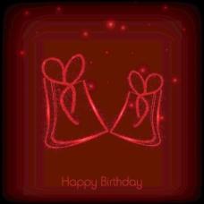 闪亮快乐的生日背景与礼品盒