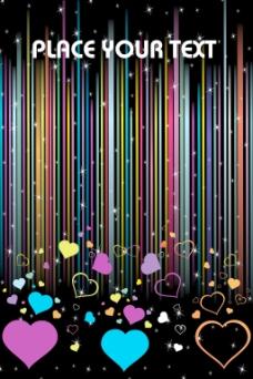 丰富多彩的浪漫的心上的彩色线条背景