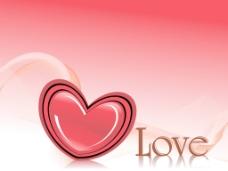 波浪形的背景与浪漫的红色的心