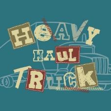 印花矢量图 T恤图案 图文结合 交通工具 卡车 免费素材