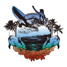 印花矢量图 T恤图案 植物 椰树 运动 免费素材