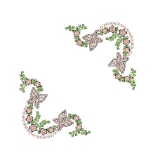 绣花 花边角 植物 花朵 免费素材