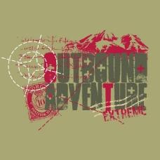印花矢量图 T恤图案 图文结合 雪山 文字 免费素材