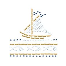 烫钻 交通工具 帆船 海洋动物 鱼 免费素材