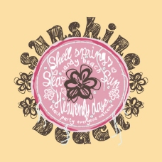 印花矢量图 T恤图案 图文结合 植物 花朵 免费素材