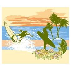 印花矢量图 T恤图案 海滩 植物 椰树 免费素材
