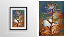 抽象树木绘画装饰