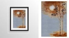 树木阳光绘画装饰