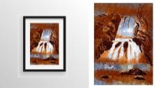 瀑布山泉绘画
