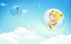 云朵卡通儿童背景图