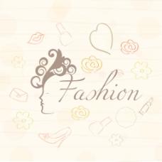 对花装饰背景时尚女孩插画