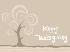感恩节快乐的棕色背景树