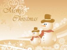 两个雪人圣诞背景