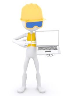 建筑工人表现出的笔记本电脑