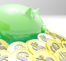 扑满包围在硬币显示美国的财政状况