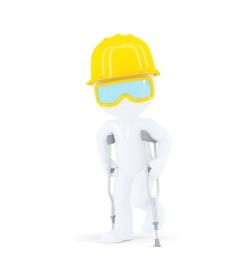 建筑工人/建设者拄着拐杖