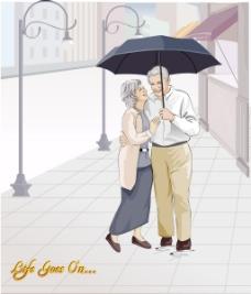 雨中浪漫的老夫妻